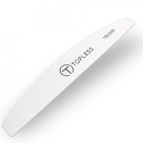 Пилка для ногтей белая полукруг 150/240 Topless Premium